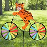 Tiger on Bike DIY Windmill Animal Bicycle Wind Spinner Whirligig For Garden Lawn Home Decor by Completestore