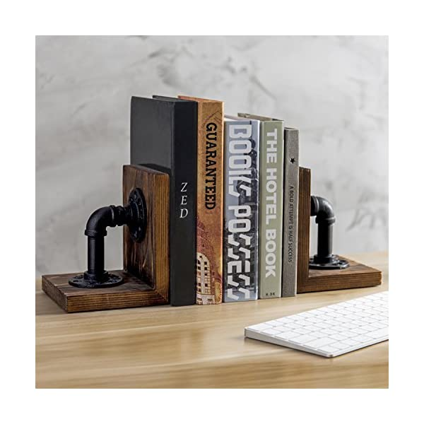 MyGift Industrial-Style Pipe & Rustic Wood Tabletop Bookends, 1-Pair 4