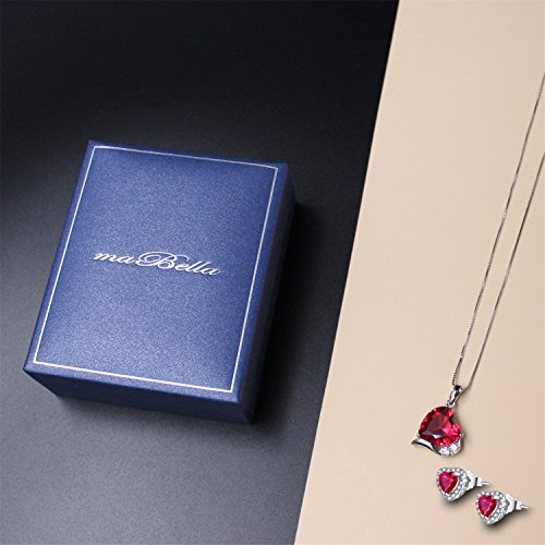 Mabella Sterling Silver Heart Jewelry Sets 7 CTW Simulated Ruby Pendant Earrings Set, Gifts for women by MABELLA (Image #5)