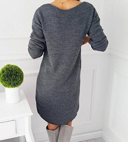 Long Mid Buildup Blouse Colored Dresses Long Grey Solid Sleeve Women's 1xYqw5YS