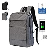 Cheap My Ever Bag Water Resistance Business Backpack with USB Chagrining Port, fit up to 15.6 inches computer, Laptop computer backpack (Gray)