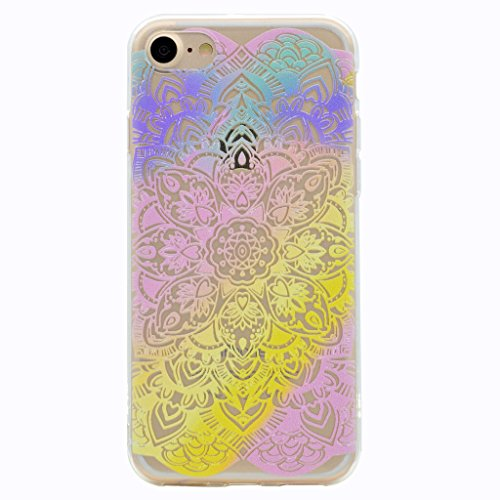 iPhone 7 Hülle , Leiai Mode Regenbogen TPU Transparent Weich Tasche Schutzhülle Silikon Handyhülle Stoßdämpfende Schale Fall Case Shell für Apple iPhone 7