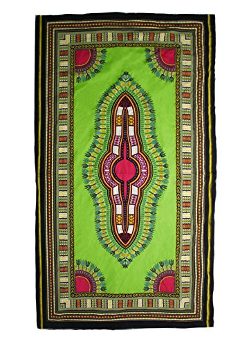 Lofbaz Unisex Traditional African Dashiki Art Prints Fabric Light Green One Size