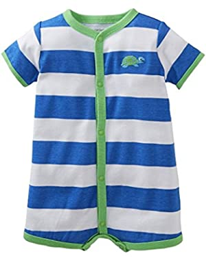 Blue Stripe Turtle Romper Creeper 3 Months