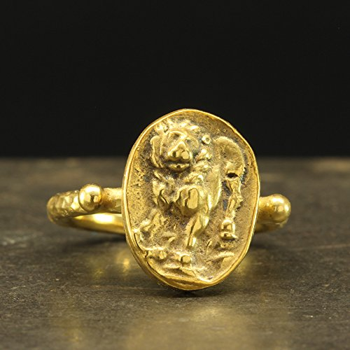 gnet Lion Coin Ring 925 Sterling Silver 24K Yellow Gold Vermeil Handcrafted Hammered Artisan Roman Art Granulated Jewelry (Yellow Gold Womens Signet Ring)
