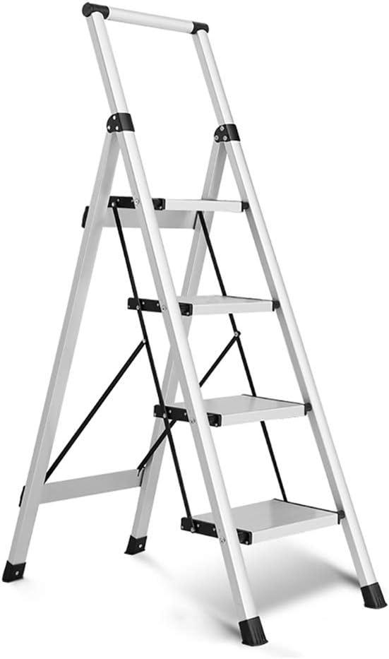 LXF Escaleras plegables Escalera De Escalera De 4 Escalones De Aleación De Aluminio Plegable Blanca con Pasamanos, Escalera Plegable Antideslizante Para El Hogar Con Pedales Anchos: Amazon.es: Bricolaje y herramientas
