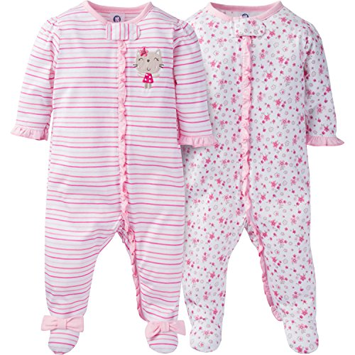 Flower Girl Clothes (Gerber Baby Girls 2 Pack Zip Front Sleep 'n Play, Lil' Flowers, 6-9)