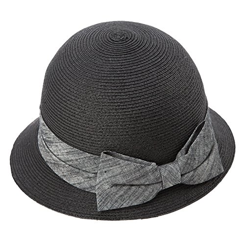 Brimmed Cloche (Womens Straw Sunhat Fedora Summer Wide Brimmed Beach Accessories Foldable Cloche Derby Black)