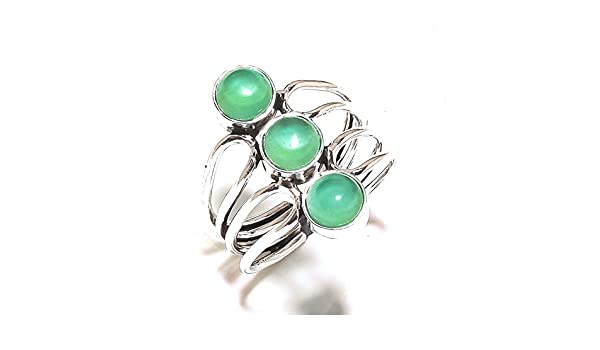 Gift Jewelry Sizable Green Onyx Handmade Jewellry 925 Sterling Silver Plated 6 Grams Ring Size 8.5 US