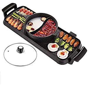 BBQ Grill 2 in 1 Smokeless Maifan Stone Electric Baking Pan – Grill &Amp; Hot Pot Multifunctional Electric Grill…