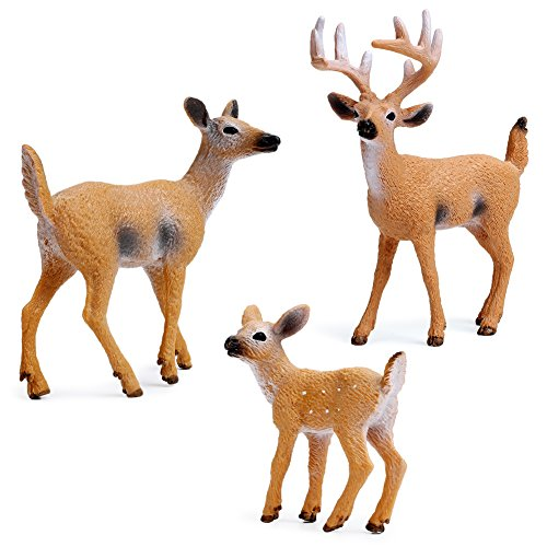 RESTCLOUD Deer Figurines Cake Toppers, Deer Toys Figure, Small Woodland Animals Set of ()