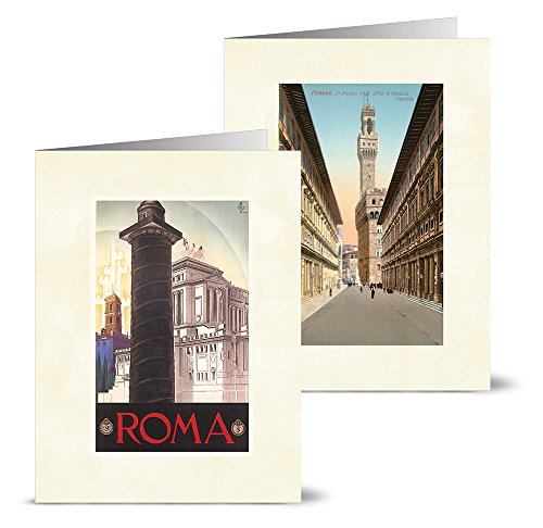 Italian Notes - Vintage Italy - 36 Note Cards - 12 Designs - Blank Cards - Off-White Ivory Envelopes Included