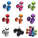 fake plugs for girls - Tanyoyo 8pair 16PCS Acrylic Barbell Stud Earrings Fake Cheater Illusion Plug Earrings