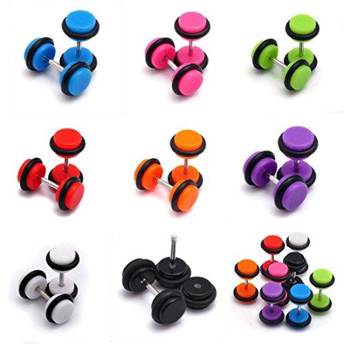 Tanyoyo 8pair 16PCS Acrylic Barbell Stud Earrings Fake Cheater Illusion Plug Earrings ()
