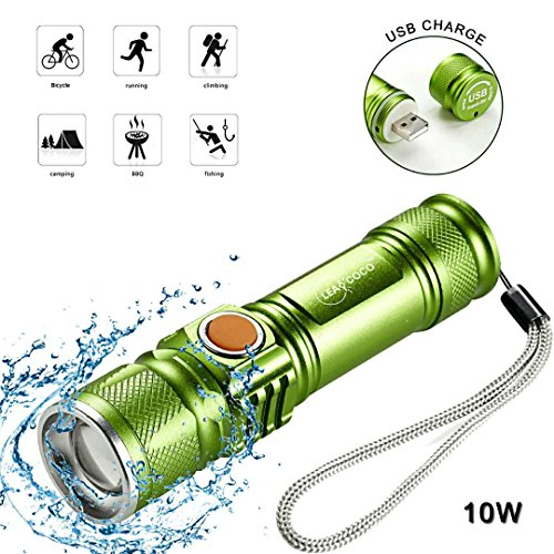 Leacoco Flashlights Led Bright MINI USB Rechargeable Camping Flashlights with Lanyard Adjustable Focus and 5 Light Mode Outdoor Water Resistant for Camping Hiking and Emergency etc. (Green)