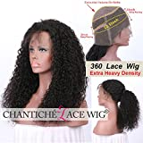 Chantiche Soft Curly 360 Lace Frontal Wig with Baby Hair and High Ponytail Brizilian Virgin Human Hair Customized 360 Lace Full Wigs with 150% Heavy Density for Women 18inches Natural Color