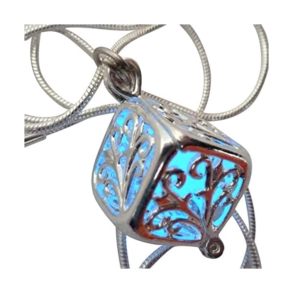 UMBRELLALABORATORY Wishing Square Box Magical Fairy Glow in The Dark Necklace-Blue-SIL 3