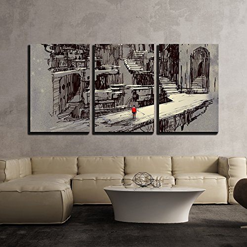 (wall26 - 3 Piece Canvas Wall Art - Illustration - Sci-Fi Cityscape,Illustration Painting - Modern Home Decor Stretched and Framed Ready to Hang - 24