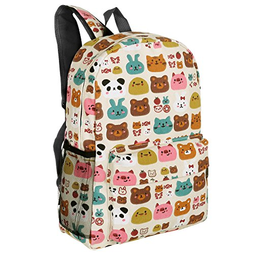 16-Inch Forest Animal Pattern Elementary Kids School Canvas Backpack - MGgear