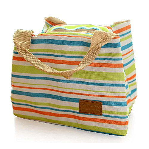 Pack Beverage Tote (WITERY New Canvas Lunch Bag Tote Insulated Cooler Travel Zipper Lunch Box Sack Storage Carry Case Bag Lunch Kit Green)