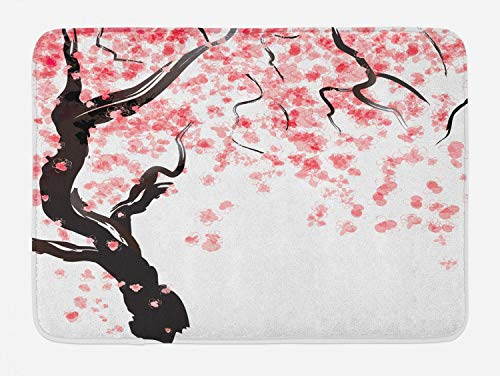 Ambesonne Floral Bath Mat, Dogwood Tree Blossom in Watercolor Painting Effect Spring Season Theme Pinkish Tones, Plush Bathroom Decor Mat with Non Slip Backing, 29.5 W X 17.5 W Inches, Black Pink
