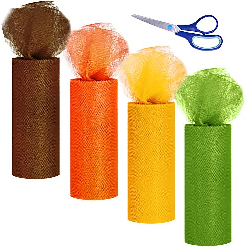 Diy Tulle Tutu (Supla 4 Colors Fall Autumn Tulle Rolls Orange Yellow Brown Tulle Fabric Ribbon Tulle Netting Rolls Spool - 6