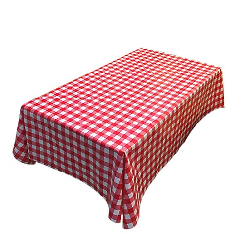 "Fanjow PVC Tablecloth Wipe Clean Table Cover Country Style Plastic Tablecloth Oil-proof Waterproof Spill-proof Indoor/Outdoor Tablecloth (137cm250cm/53.94""98.43"", Red Plaid)"
