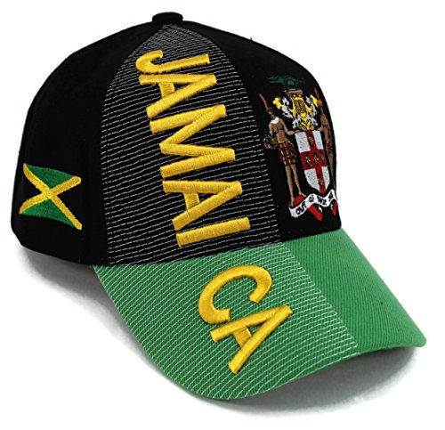 High End Hats Nations of North America Hat Collection Embroidered Adjustable Baseball Cap, Jamaica with Coat of Arms, Black (Embroidered Print Rugby)