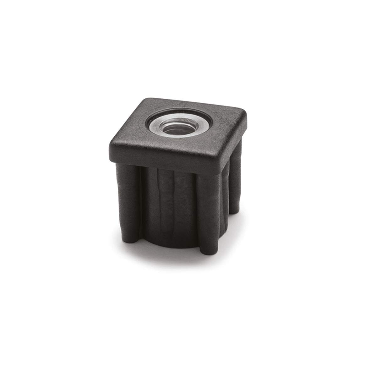 JW Winco 448V150V1268T Series EN 448S Plastic Black Square Type Threaded Tube End with Molded-in Insert, 1/2-13 Thread Size, 1.50'' Item Length, 1.26'' Inside Square, 1349 Pounds Static Load by JW Winco