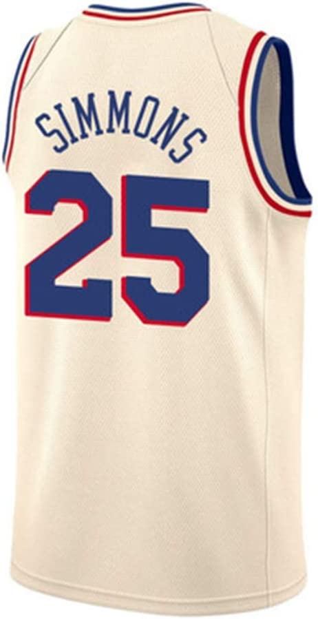 LDFN Jersey Baloncesto Ben Simmons # 25 Philadelphia 76ers Camiseta De Baloncesto De Los Hombres Tejido Transpirable Y De Secado R/ápido Deportes Bordados Camiseta Sin Mangas S-XXL