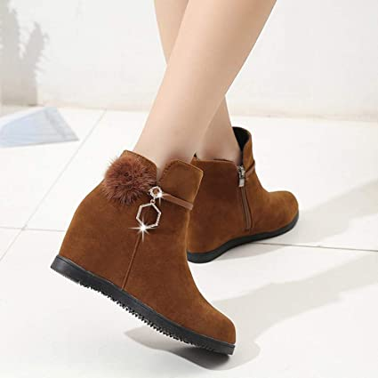 Amazon.com: NEARTIME Womens Shorts Boots Suede Round Toe Wedges Shoes Pure Color Zipper Boots: Clothing