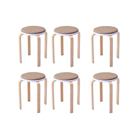 At Home Kitchen Chairs.Amazon Com Zpwsnh Wooden Bench 6 Pieces Stackable Stool Chair