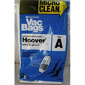 Set of 3 Type A Vacuum Bags for Hoover and Bissell Upright (Style 2)