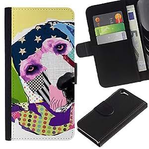 EJOY---La carpeta del tirón la caja de cuero de alta calidad de la PU Caso protector / Apple Iphone 6 / --Labrador Retriever América Arte Moderno
