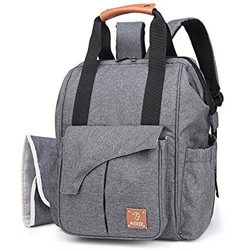 Diaper Bag, Multi-function Baby Backpack W/ Stroller Straps,Large Capacity Nappy Changing Bag for Moms & Dads (Dark Gray)