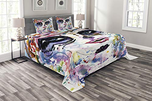 Ambesonne Sugar Skull Bedspread Set Queen Size, Halloween Girl with Sugar Skull Makeup Watercolor Painting Style Creepy Look, 3 Piece Decorative Quilted Coverlet with 2 Pillow Shams, Multicolor
