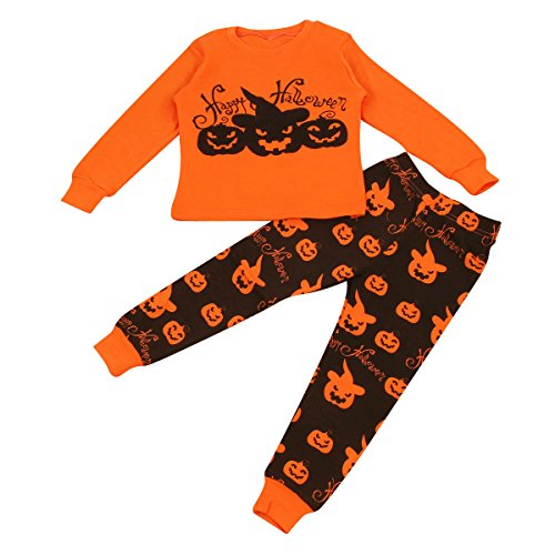 1Y-7Y Boy Girl Pumpkin Long T Shirt Tops & Pants Trousers Halloween Pajamas Set (4Y)