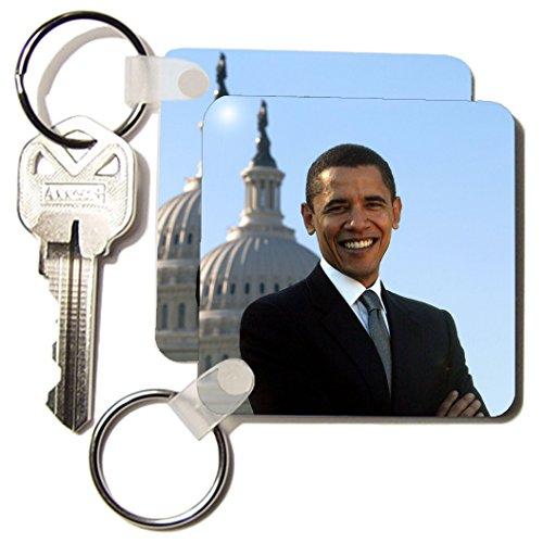 FabPeople - Presidents and Politics - Barack Obama with Captital in Background - Key Chains - set of 2 Key Chains - kc_107187_1 (Obama Key Barack)