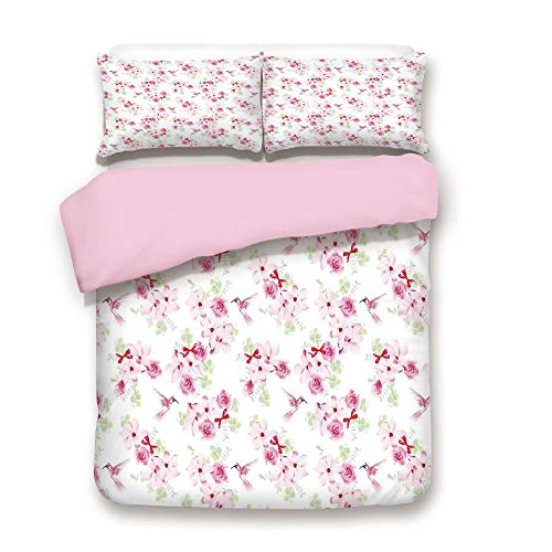 Hummingbird Golf (iPrint Pink Duvet Cover Set,Queen Size,Hummingbirds and Bunches with Magnolias and Roses Pattern Floral Print,Decorative 3 Piece Bedding Set with 2 Pillow Sham,Best Gift for Girls Women,)