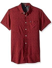 Mens Geo Print Short Sleeve Woven Button Up Shirt