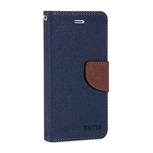 iPhone 6s Hülle, GMYLE Wallet Case Classic für iPhone 6S - Marineblau & Braun PU Leder Stand Hülle Tasche Etui