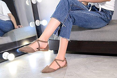 Mila Lady Laurel Nouvelle Mode Womens Bout Pointu Cheville Wrap T-strap Dorsay Appartements Kaki