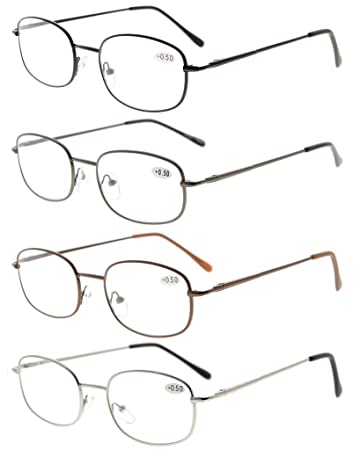 3e2c6b0177a5 Eyekepper Metal Frame Spring Hinged Arms Reading Glasses Pack of 4 Pairs(1  Pair of