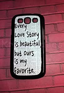 Samsung Galaxy S3 Case, Love Story Quote Galaxy S3 Cover, Samsung Galaxy S3 Cases, Galaxy S3 Case