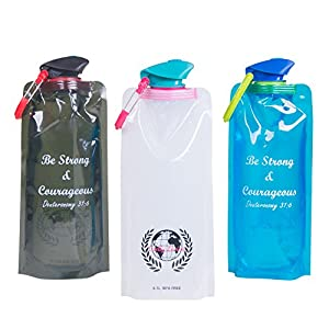 Collapsible Water Bottles by Godly Living - 3 Pack Includes a White, Black, & Blue Bottle. Each Bottle is Reusable, Freezable, BPA Free, Dishwasher Safe & Holds 21 Oz.