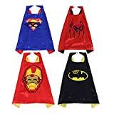 Kids Capes Masks Super Hero Costumes for Dress up Party Pack of 4