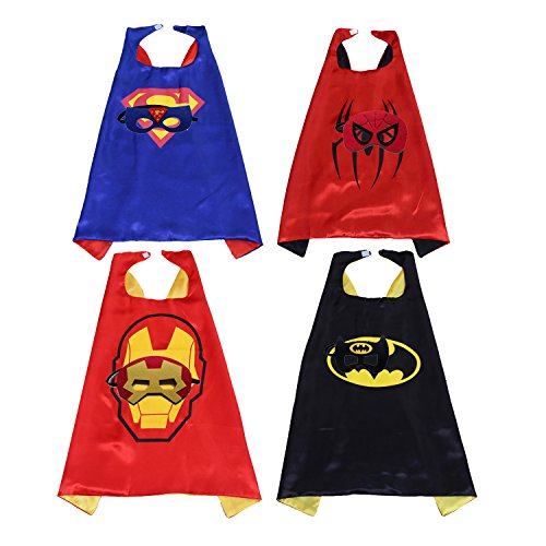 Kids Capes Masks Super Hero Costumes for Dress up Party Pack of (Cool Easy Superhero Costumes)