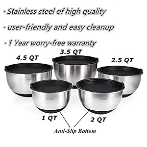 X-Chef Stainless Steel Mixing Bowls Set With 5 Lids, Measurement Marks, Non-Slip, Durable(Set of 5)
