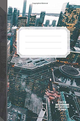 Dotted Notebook  110 Dot Grid Pages 6 X 9 Inches 15.24 X 22.86 Cm  Almost A5  Pages Numbered Metropolis Pattern Soft Matte Cover