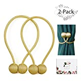 ANNGEOK Magnetic Curtain Tiebacks,The Most Easy Strong Magnet Curtain Holdbacks,Simple Modern Decorative Curtain Tie Backs/Holder for Home Curtains,Gold/2 Pieces